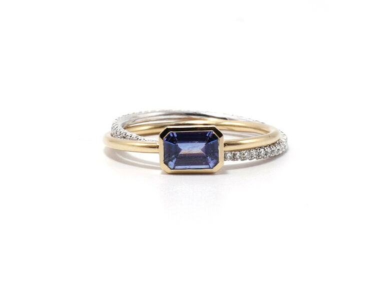Sapphire engagement ring with two-tone pavé band