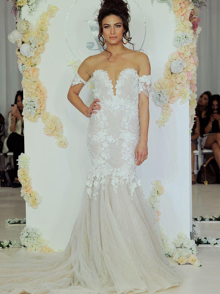 Julie Vino Fall 2018 off-the-shoulder trumpet-style wedding dress