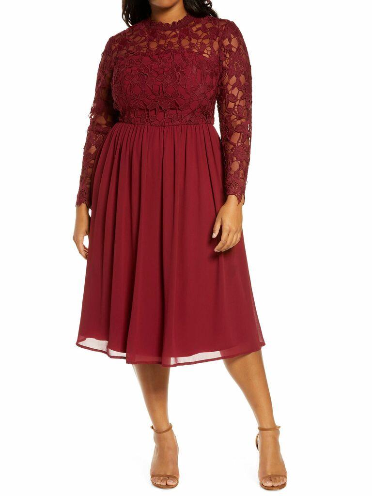 red lace & chiffon long sleeve dress