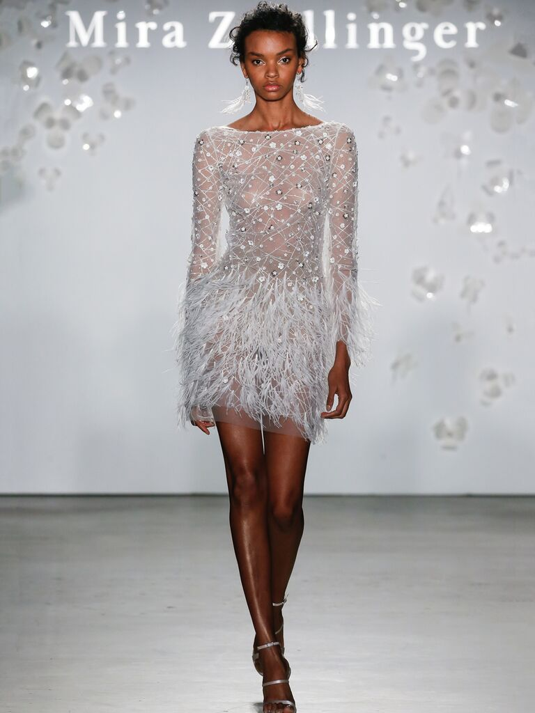 Mira Zwillinger Spring 2020 Bridal Collection long-sleeve feathered mini wedding dress