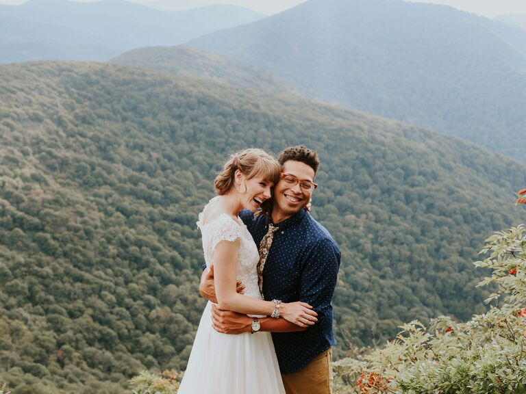Couple posing for wedding portrait in North Carolina wilderness