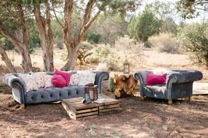 Gray Velvet Sofas and Rustic Wooden Cocktail Tables