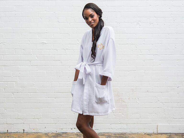 White waffle bridal robe