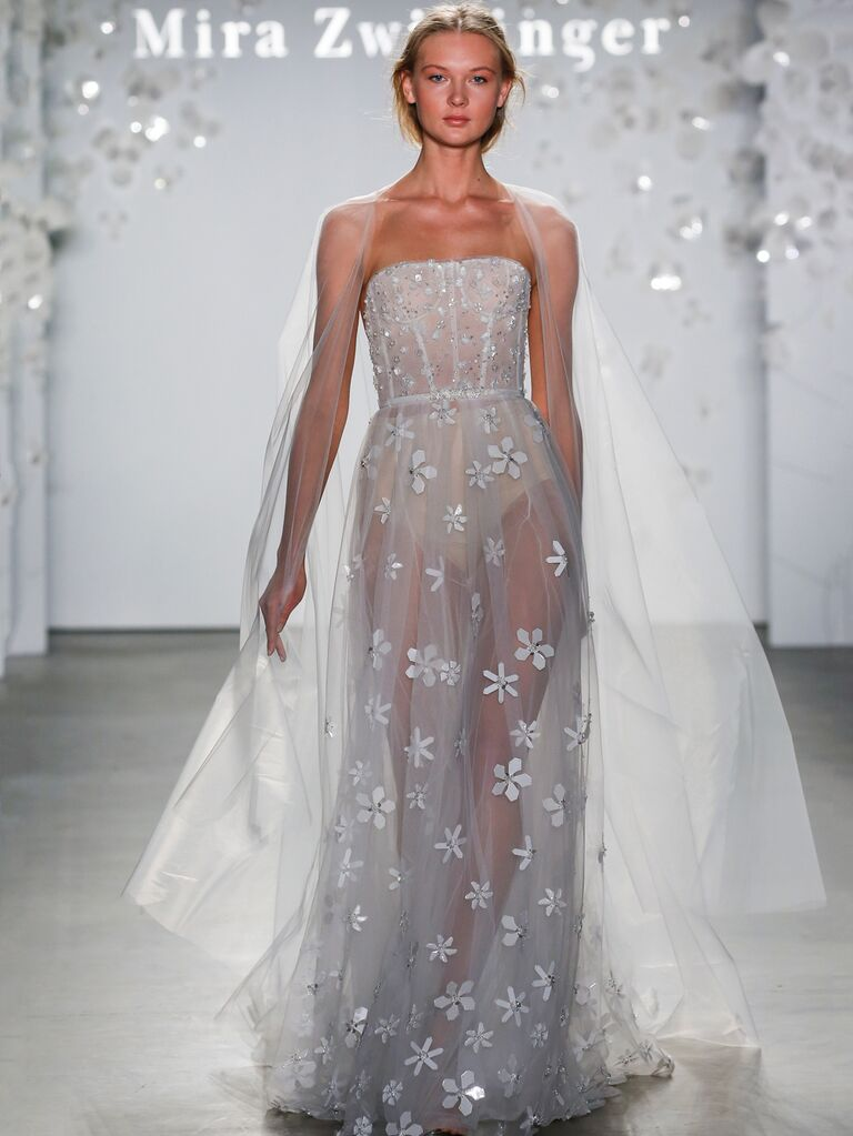 Mira Zwillinger Spring 2020 Bridal Collection corseted wedding dress with floral appliqués and cape