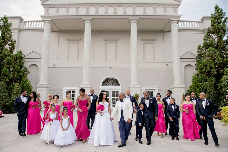 Large Formal Wedding Party Clad in Pink Details
