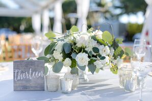 Wood Table Numbers with Mercury Glass Votives