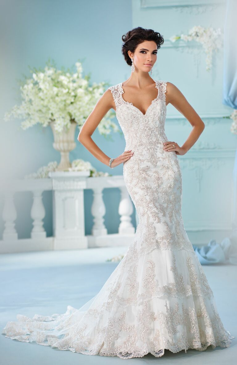David tutera spring 2017 collection bridal fashion week photos david tutera spring 2017 sleeveless mermaid wedding dress with paisley beading and tiered lace trumpet skirt junglespirit Choice Image