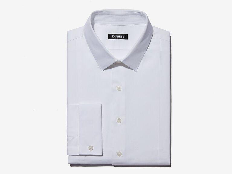 express classic fit twill tuxedo dress shirt
