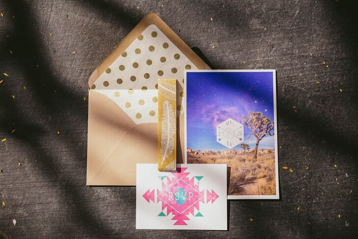 The custom-made invitations incorporated the geometric patterns of the wedding day style and a picture of Joshua Tree National Park, where Mai and Brian got engaged.