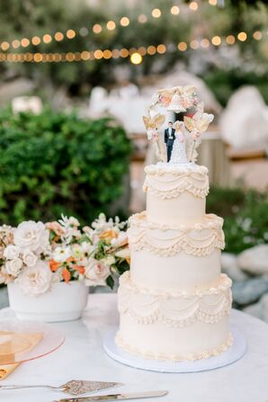 Classic White Wedding Cake with Cake Topper
