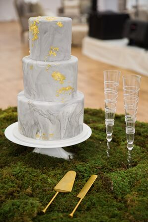 Gray Marbled Cake with Gold Leaf