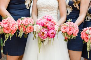 Coral Bridal Party Bouquets With Hanging Amaranthus