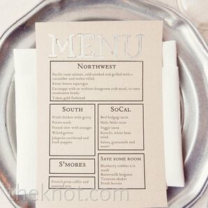 Silver Wedding Menu Cards