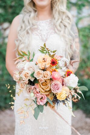 Colorful Bouquet of Roses, Ranunculus, Peonies and Wildflowers