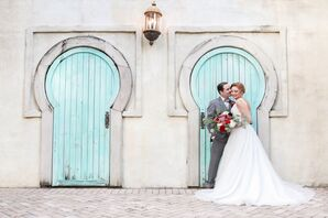 Elegant Couple in Front of Blue Doors at Lowry Park Zoo