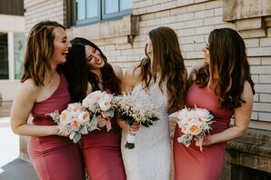 Modern Bridesmaids with Red Dresses