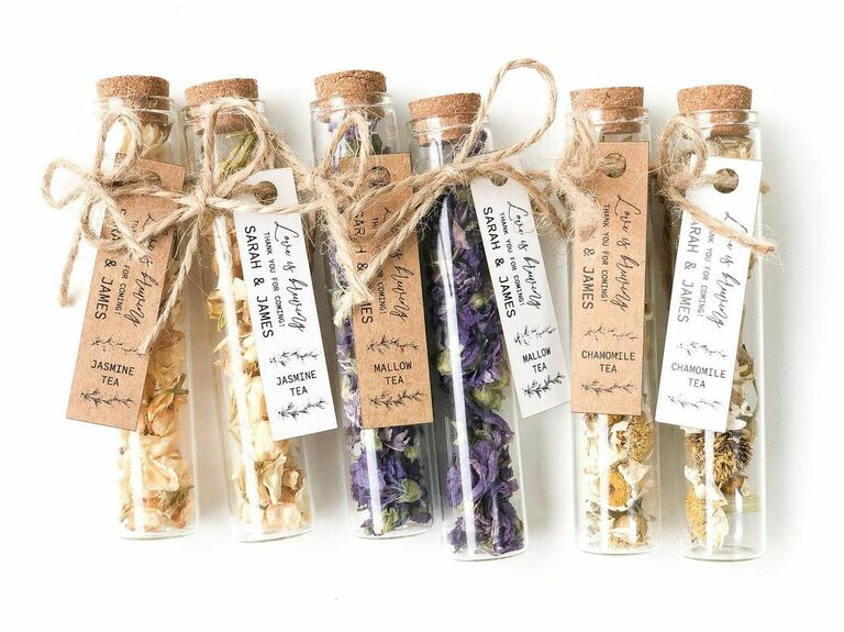 tea in a test tube rustic wedding favor