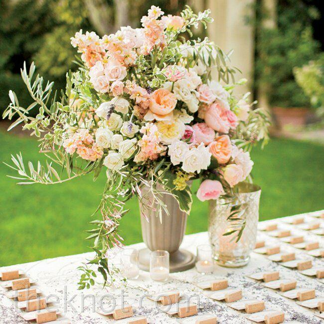Pink Escort Card Table Arrangement