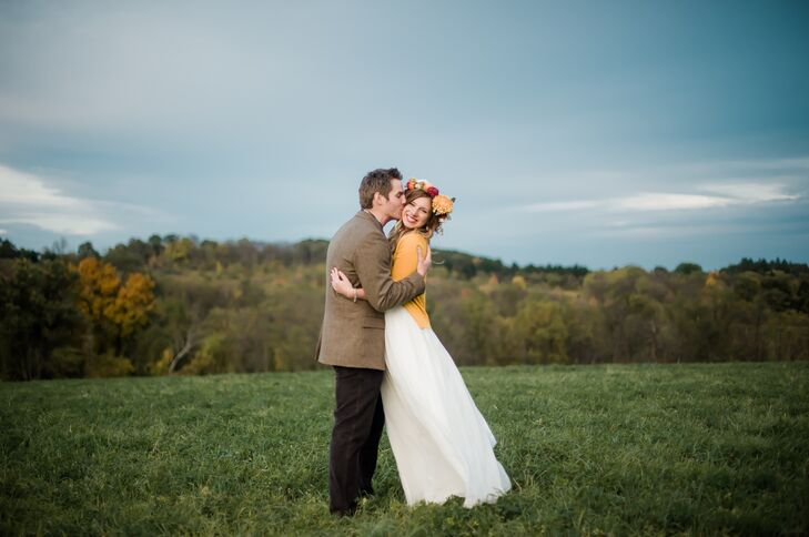 Boho Bride and Groom at Shady Elms Farm