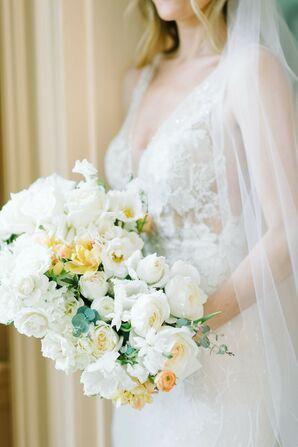 Elegant White Bouquet for Wedding at The William Aiken House in Charleston, South Carolina