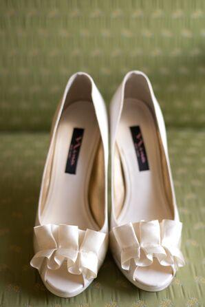 Ivory Ruffled Satin Wedding Shoes