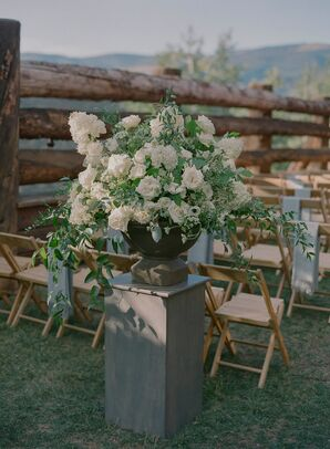 White Flower Arrangement with Roses and Greenery