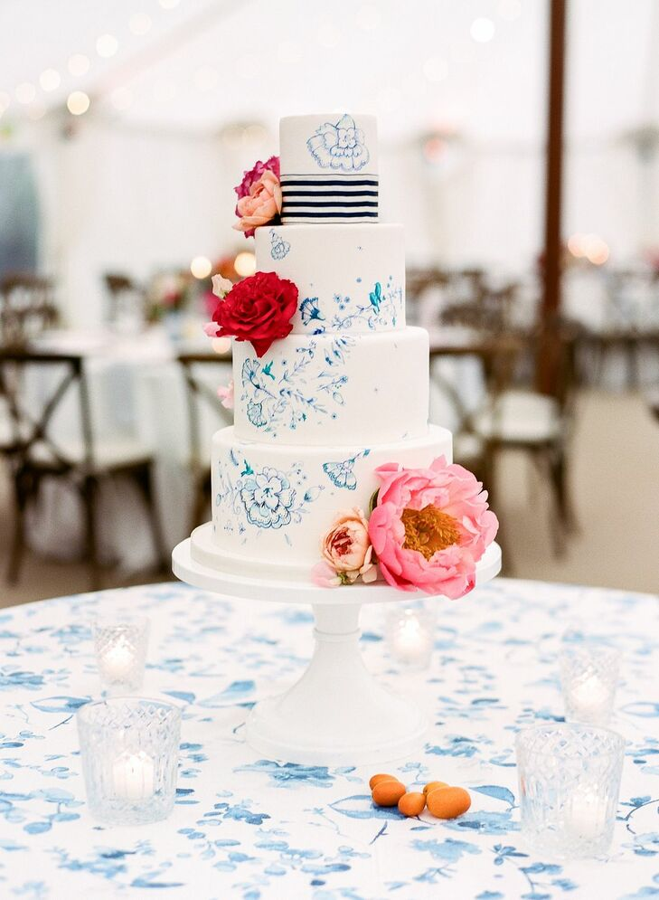 Preppy Hand-Painted Fondant Wedding Cake with Flowers
