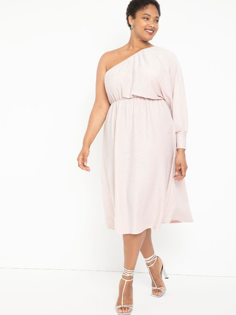 Blush pink plus size midi dress with one long sleeve