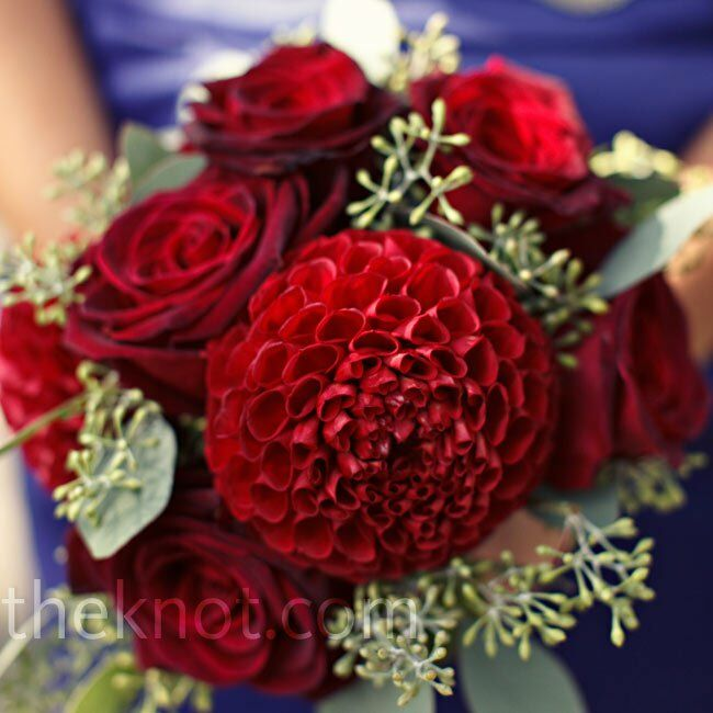 Black beauty roses and burgundy dahlias made for standout bouquets.