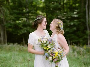 Bohemian Brides with Loose Updos, Carrying Natural Bouquets
