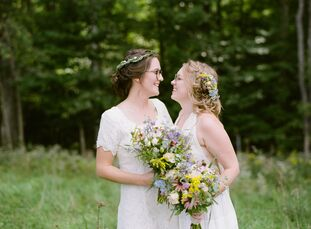 "Mary Bolton and Ali Killgren were inspired by ""all things bohemian, vintage, romantic and ethereal"" for their wedding at Vera Floral Farm. Ali repurpo"