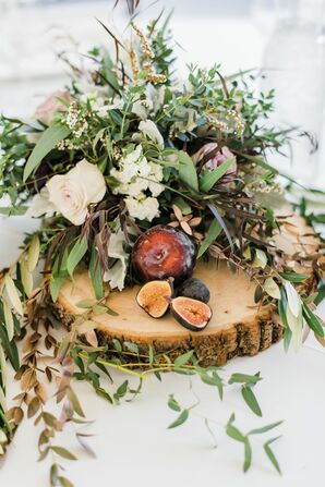 Romantic Centerpiece of Fruit, Greenery and Wood Slice