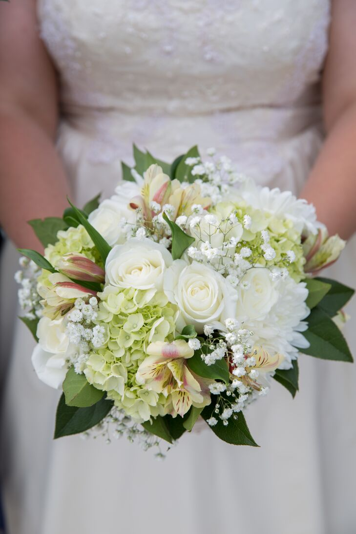White Rose and Light Green Hydrangea Bouquet