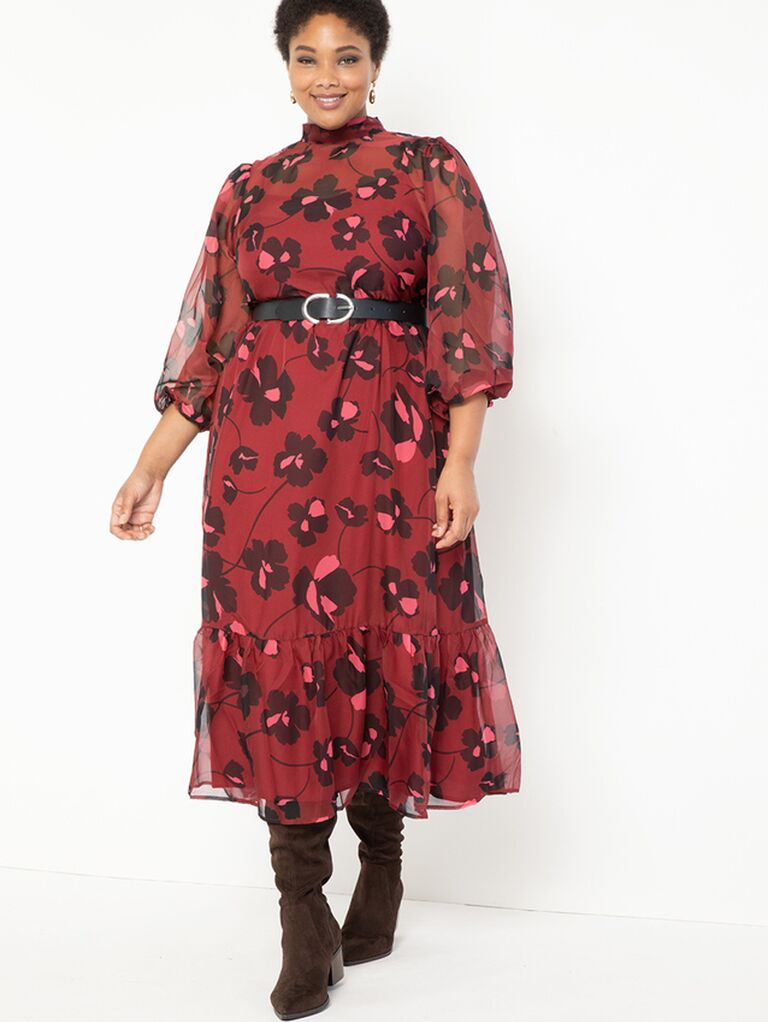 Dark red floral print plus size maxi dress with sheer sleeves, high neckline and belted waist
