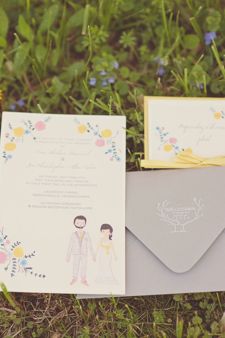 The bride designed and created the wedding invitation suite, which featured hand-drawn illustrations of the bride and groom.