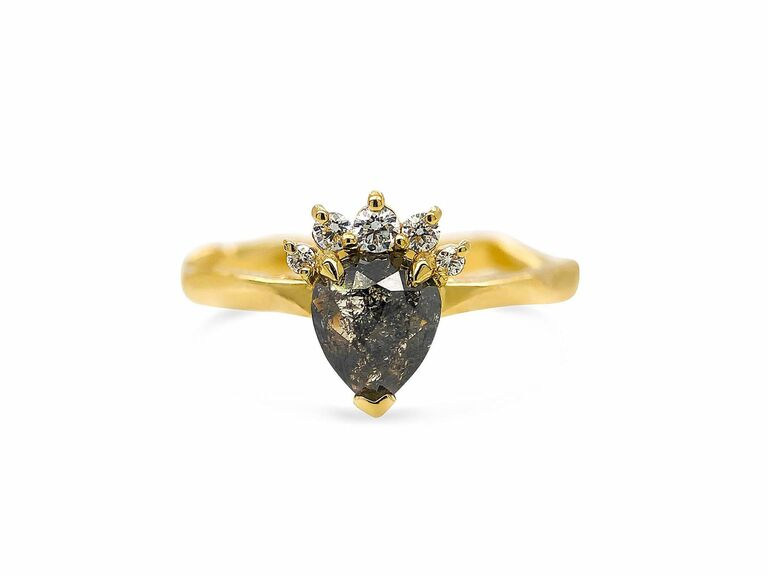 Pear cut grey diamond and small white diamond ring in 18K yellow gold