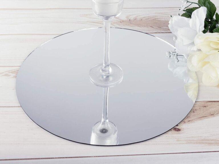Affordable mirrored wedding centerpiece