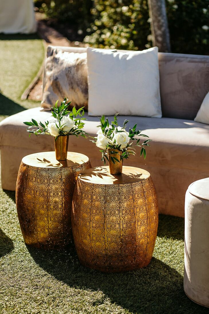Gold Ottomans and Velvet Lounge Furniture