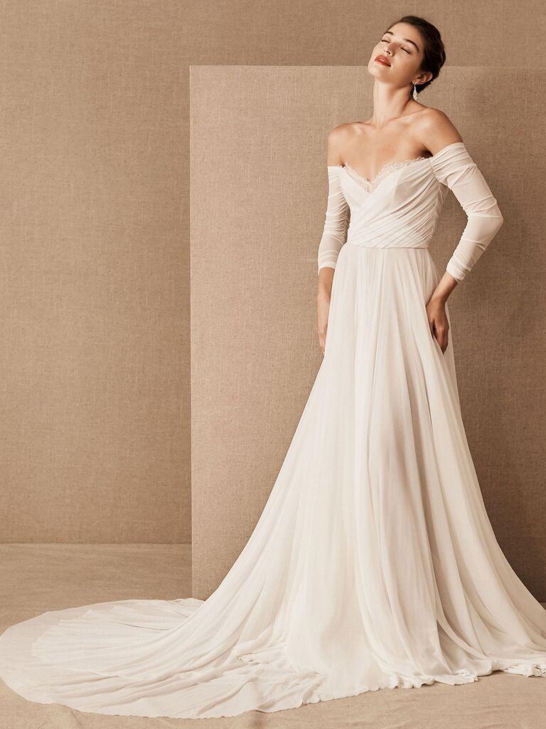 BHLDN off-the-shoulder A-line dress