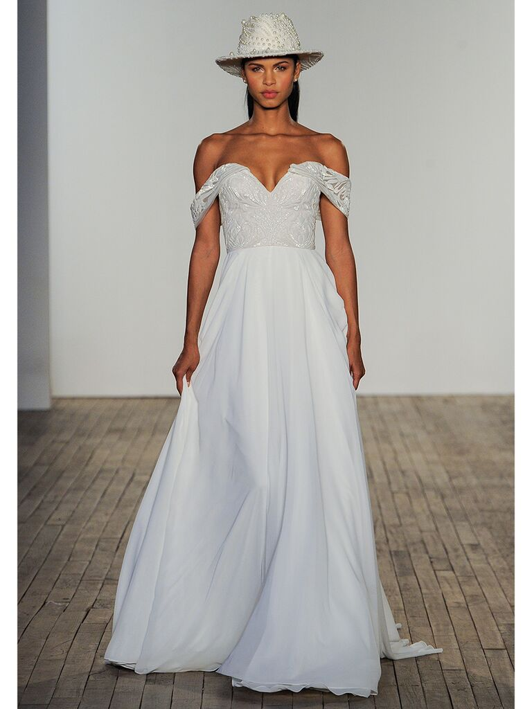 hayley paige wedding dress off-the-shoulder ball gown