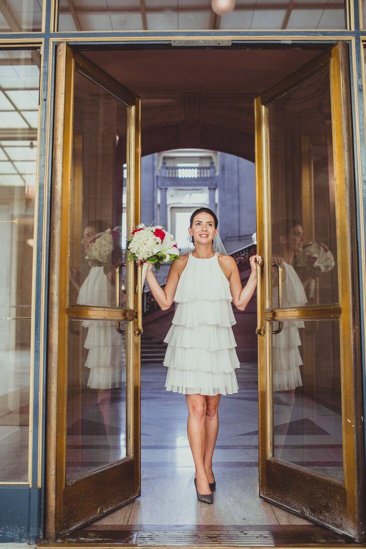 Bcbg Short White Ruffled Wedding Dress,Plus Size Dress For Wedding Guest