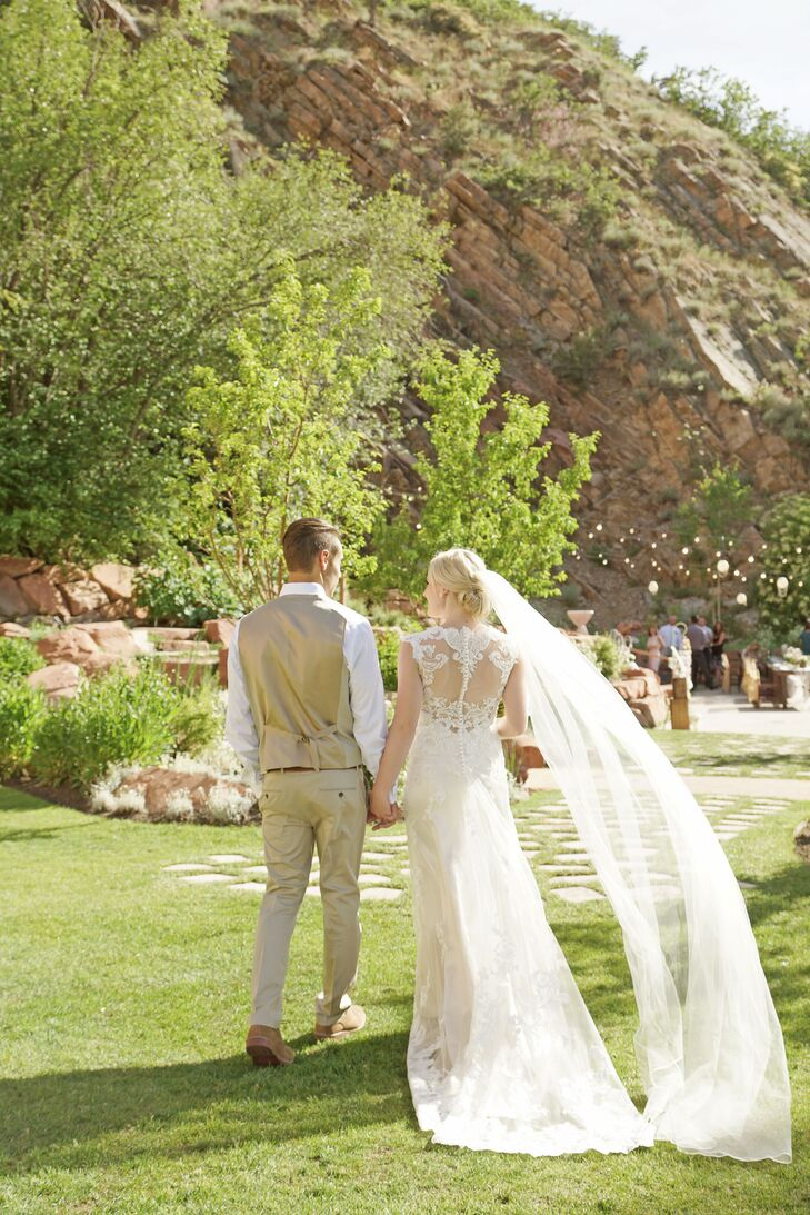 The illusion back of Ashlee's dress was just as stunning as the venue, Louland Falls in Salt Lake City, Utah.