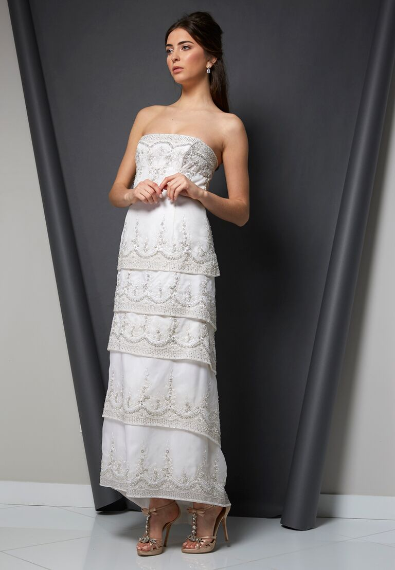 Randi Rahm Spring 2020 Bridal Collection tea-length embellished wedding dress