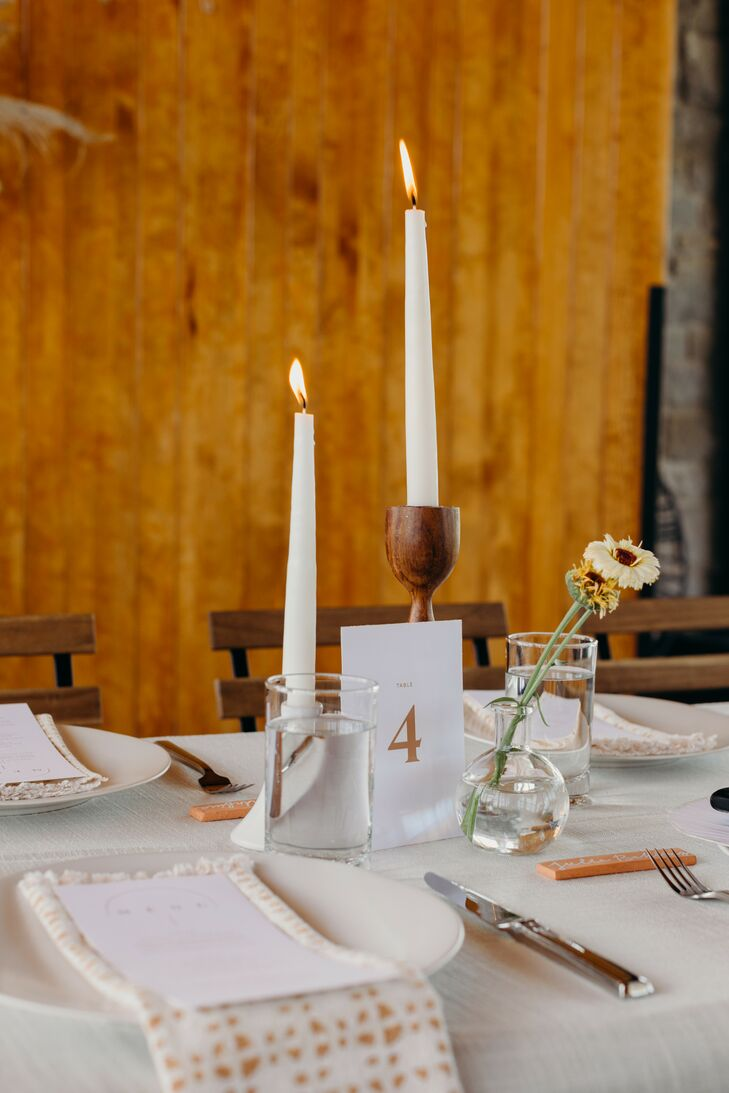 Minimalist Tablescape with White Taper Candles