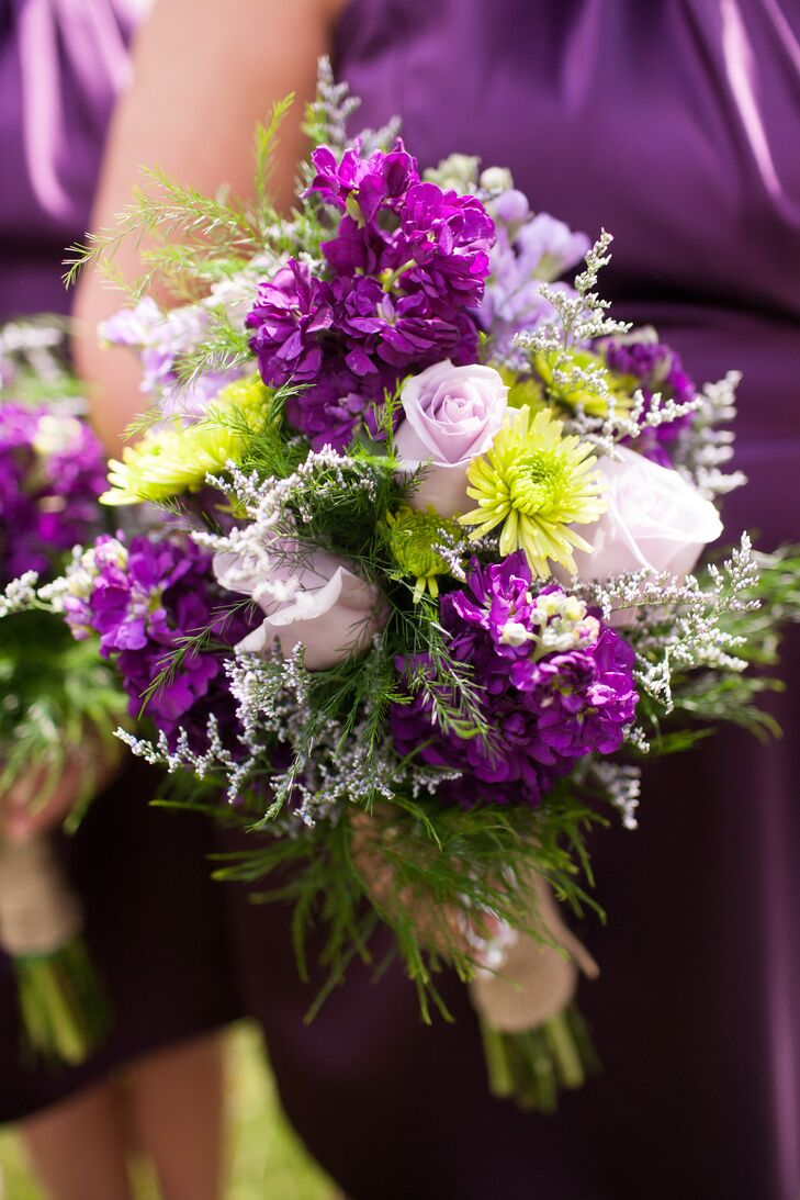 The bouquets at Sara and Josh's spring wedding included lavender roses, green chrysanthemums and purple stock flowers.