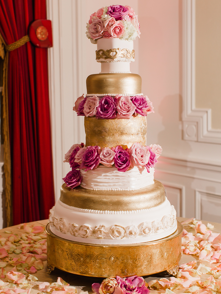 Blush and gold wedding cake idea