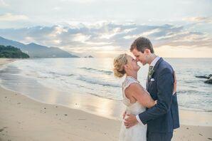 Navy Linen Groom's Suit Beach Wedding