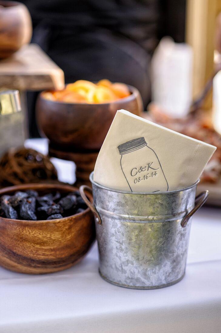 Personalized Mason Jar Design on Napkins