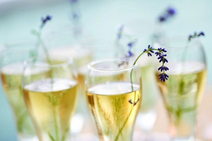 Glasses of champagne were passed around with fresh sprigs of lavender in them.