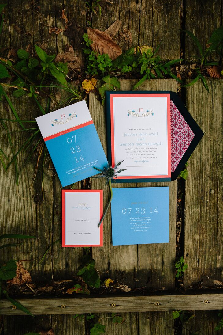 The bright invitation suite featured small illustrations of blue thistle and paid homage to the couple's monogram.